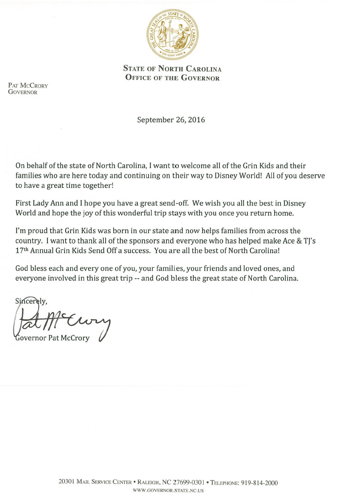 A Letter from the State of NC Office of the Governor - Ace
